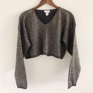 Blue Morgan Gold Metallic Crop V-Neck Sweater S